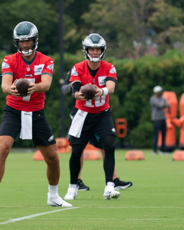 Jalen Hurts, Joe Flacco, and Nick Mullens go through a training camp practice