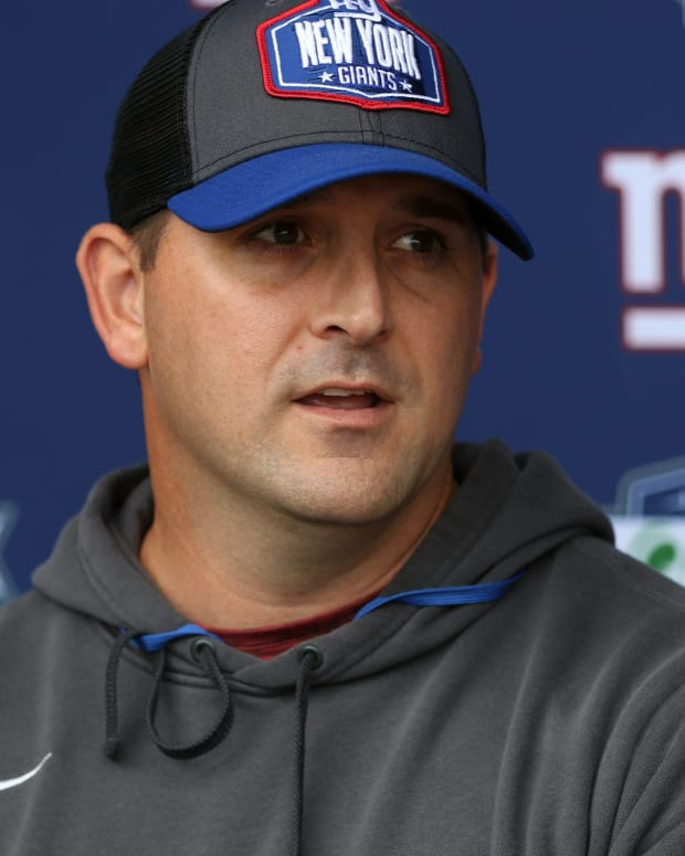 Giants Head Coach, Joe Judge answers questions from members of the media, before practice, in East Rutherford.