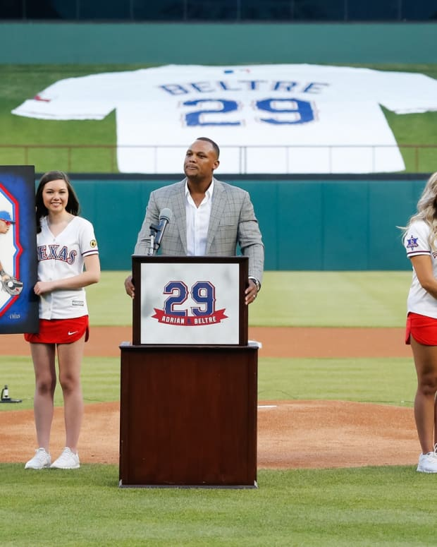 Jun 8, 2019; Arlington, TX, USA; Adrian Beltre address the crowd during a ceremony retiring his uniform number 29 prior to a game between the Texas Rangers and the Oakland Athletics at Globe Life Park in Arlington.