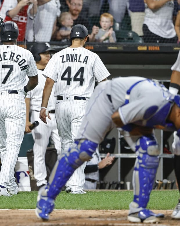 Aug 3, 2021; Chicago, Illinois, USA; Chicago White Sox shortstop Tim Anderson (7) is congratulated by first baseman Jose Abreu (79) after hitting a two-run home run against the Kansas City Royals during the third inning at Guaranteed Rate Field. Mandatory Credit: Kamil Krzaczynski-USA TODAY Sports