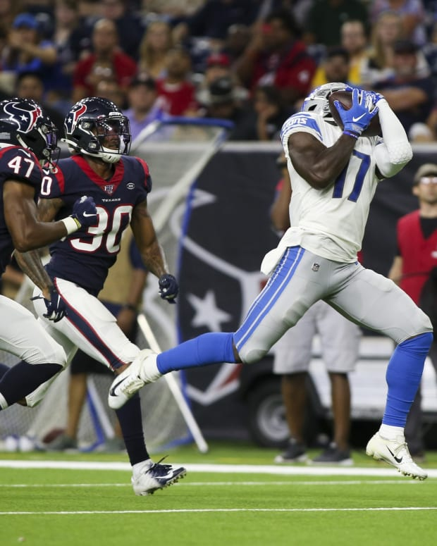 Aug 17, 2019; Houston, TX, USA; Detroit Lions wide receiver Andy Jones (17) catches a pass during the third quarter against the Houston Texans at NRG Stadium.