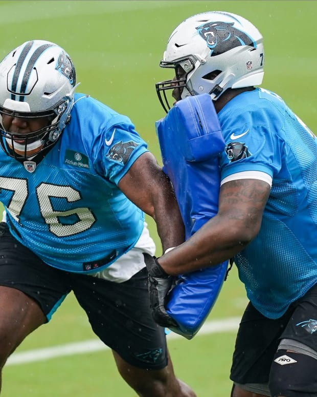 Aug 21, 2020; Charlotte, North Carolina, USA; Carolina Panthers offensive tackle Russell Okung (76) participates in drills during training camp held at the Panthers training facility. Mandatory Credit:
