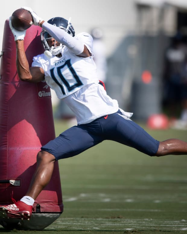 Tennessee Titans wide receiver Dez Fitzpatrick (10) pulls in a catch during a training camp practice at Saint Thomas Sports Park Tuesday, Aug. 3, 2021 in Nashville, Tenn.