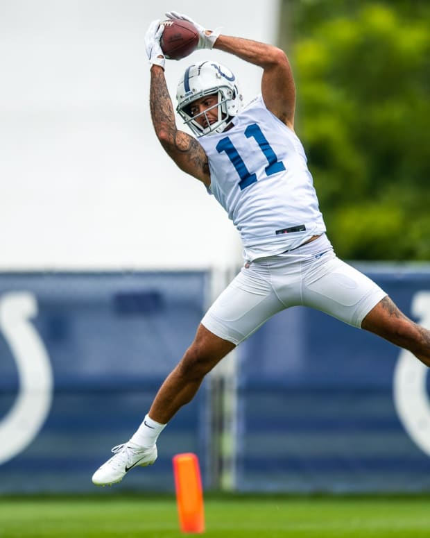 Indianapolis Colts wide receiver Michael Pittman (11) pulls in a pass during practice Saturday, July 31, 2021.