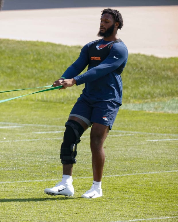 Denver Broncos outside linebackers Bradley Chubb (55) and Baron Browning (56) during training camp at UCHealth Training Complex.