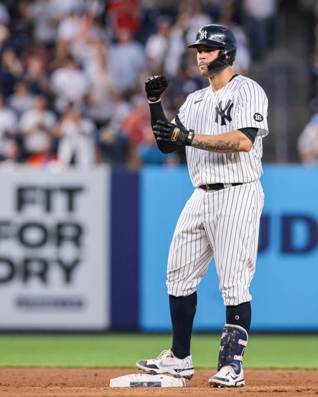Yankees C Gary Sanchez celebrates double
