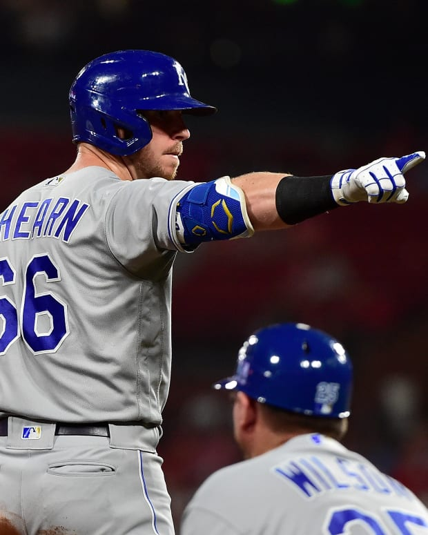 Aug 6, 2021; St. Louis, Missouri, USA; Kansas City Royals right fielder Ryan O'Hearn (66) reacts after hitting a one run triple during the sixth inning against the St. Louis Cardinals at Busch Stadium. Mandatory Credit: Jeff Curry-USA TODAY Sports
