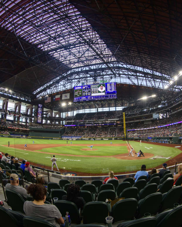 Aug 15, 2021; Arlington, Texas, USA; A view of the field during the game between the Texas Rangers and the Oakland Athletics at Globe Life Field.