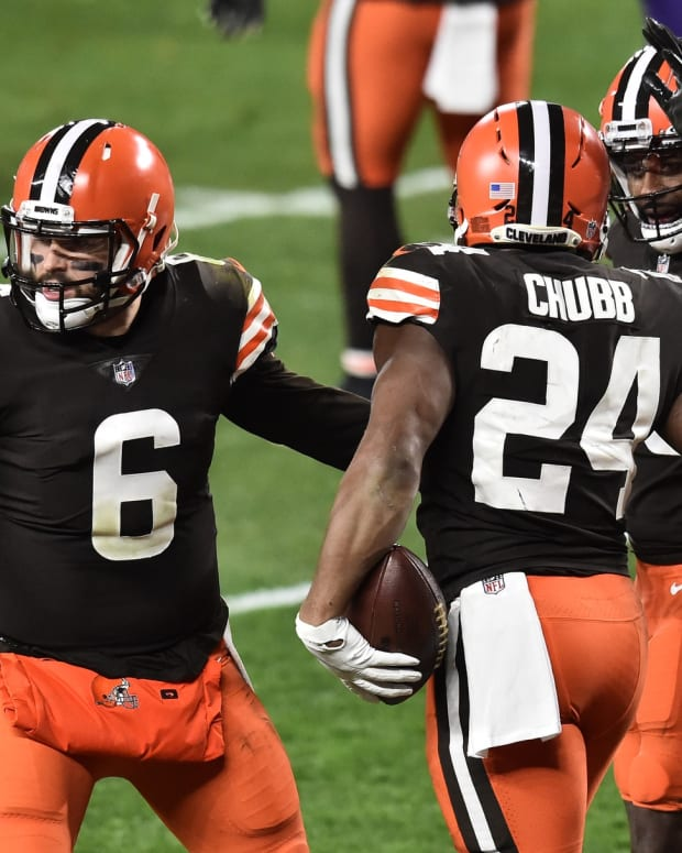 Dec 14, 2020; Cleveland, Ohio, USA; Cleveland Browns quarterback Baker Mayfield (6) and wide receiver Jarvis Landry (80) celebrate with running back Nick Chubb (24) after Chubb scored a touchdown during the second quarter against the Baltimore Ravens at FirstEnergy Stadium. Mandatory Credit: Ken Blaze-USA TODAY Sports
