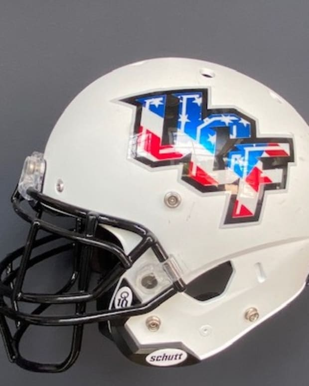UCF White Helmet, Red, White, and Blue