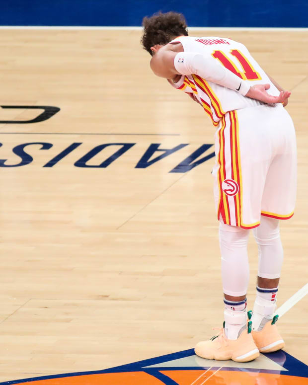 Atlanta Hawks guard Trae Young (11) during game five in the first round of the 2021 NBA Playoffs at Madison Square Garden
