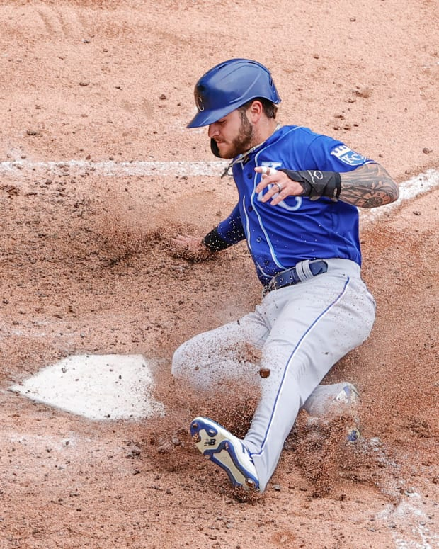 Apr 11, 2021; Chicago, Illinois, USA; Kansas City Royals center fielder Kyle Isbel (28) scores against the Chicago White Sox during the fifth inning at Guaranteed Rate Field. Mandatory Credit: Kamil Krzaczynski-USA TODAY Sports