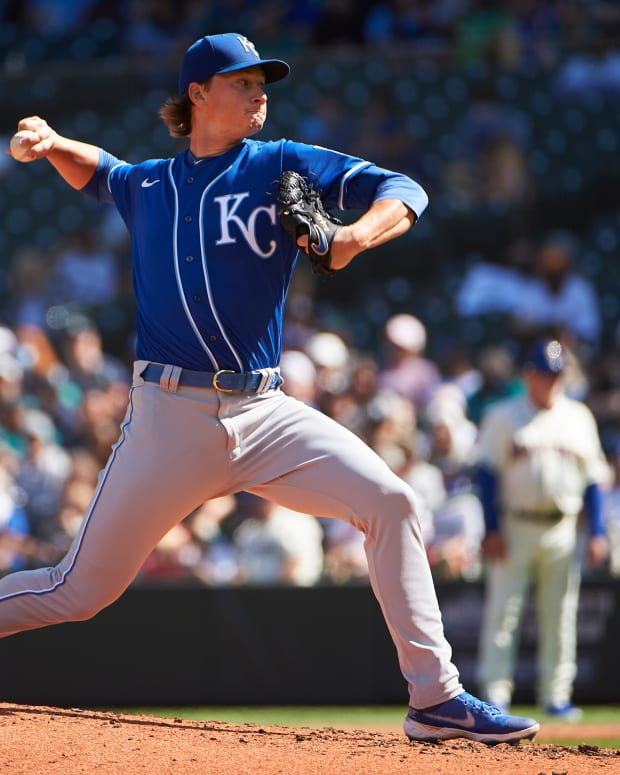 Aug 29, 2021; Seattle, Washington, USA; Kansas City Royals starting pitcher Brady Singer (51) throws the ball during the third inning against the Seattle Mariners at T-Mobile Park. Mandatory Credit: Troy Wayrynen-USA TODAY Sports