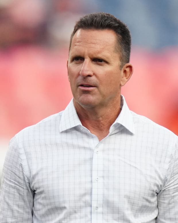Denver Broncos general manager George Paton before the preseason game against the Los Angeles Rams at Empower Field at Mile High.