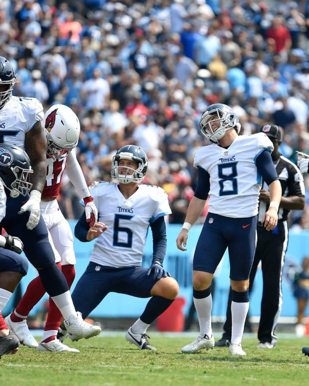 Tennessee Titans kicker Michael Badgley (8) reacts after missing a kick for extra points during the second quarter at Nissan Stadium Sunday, Sept. 12, 2021 in Nashville, Tenn.