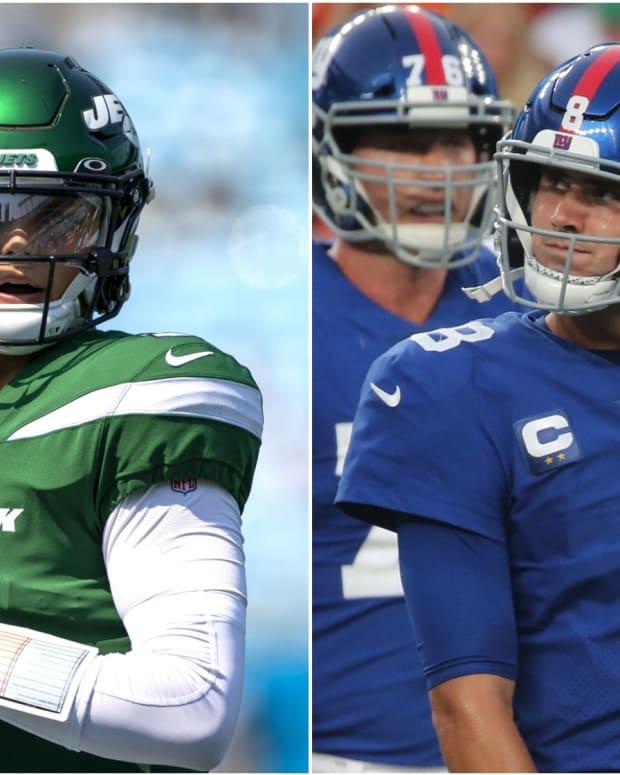 Jets QB Zach Wilson, Giants QB Daniel Jones