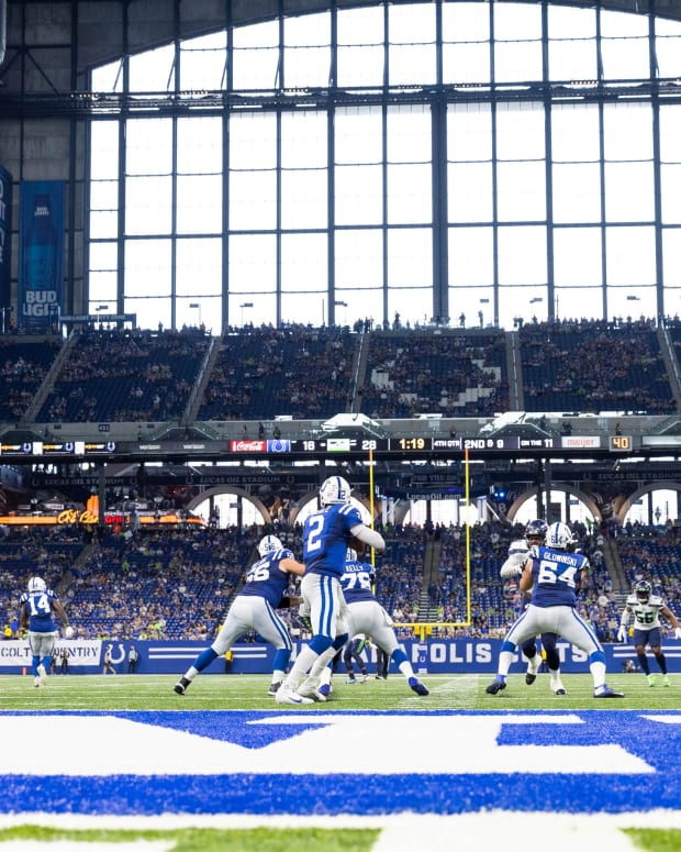 Sep 12, 2021; Indianapolis, Indiana, USA; Indianapolis Colts quarterback Carson Wentz (2) drops back to pass the ball in the second half against the Seattle Seahawks at Lucas Oil Stadium. Mandatory Credit: Trevor Ruszkowski-USA TODAY Sports