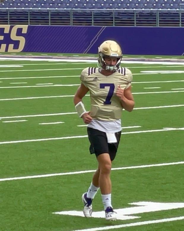 Sam Huard heads to practice.