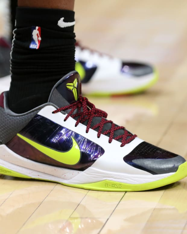 A detail of the shoes of Atlanta Hawks forward Cam Reddish (22) during their game against the Phoenix Suns at State Farm Arena.