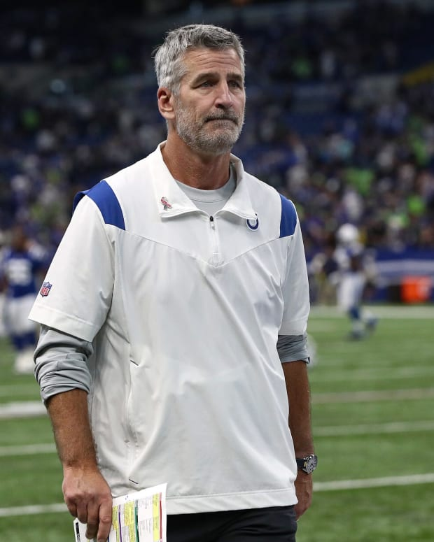 Indianapolis Colts head coach Frank Reich leaves the field after the team faced the Seattle Seahawks on Sunday, Sept. 12, 2021, at Lucas Oil Stadium and Indianapolis. The Seahawks defeated the Colts, 28-16. Indianapolis Colts And Seattle Seahawks On Nfl Week 1 At Lucas Oil Stadium Sunday Sept 12 2021
