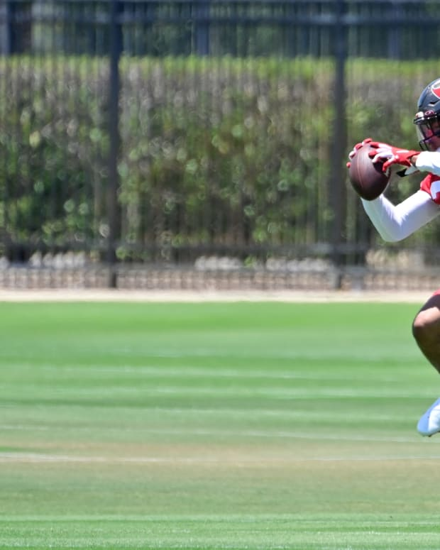 May 14, 2021; Tampa Bay, Florida, USA; Tampa Bay Buccaneers cornerback Chris Wilcox (29) practices during rookie mini-camp at AdventHealth Training Center