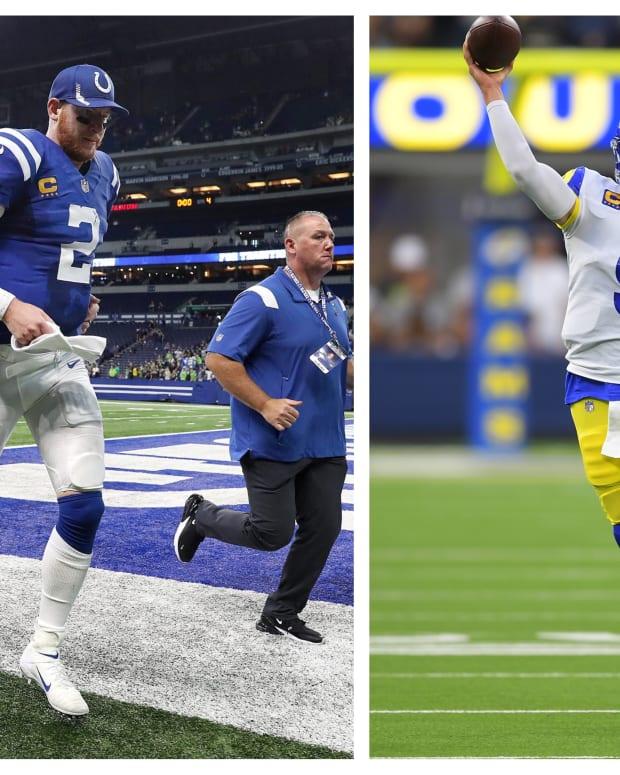 (L) Colts quarterback Carson Wentz (Mandatory Credit: Mandatory Credit: Jenna Watson-USA TODAY Sports) | (R) Rams quarterback Matthew Stafford (Mandatory Credit: Jayne Kamin-Oncea-USA TODAY Sports)
