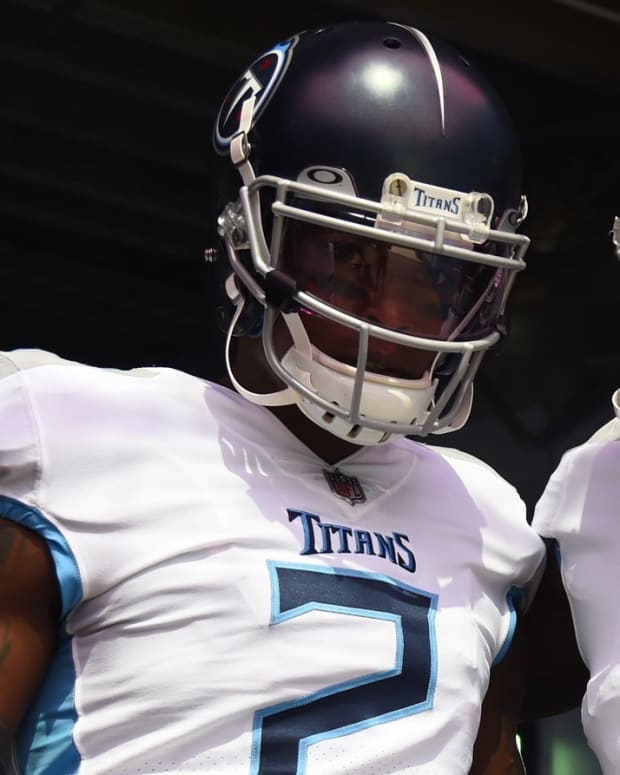 Tennessee Titans wide receiver Julio Jones (2) and Tennessee Titans wide receiver A.J. Brown (11) before the game against the Arizona Cardinals at Nissan Stadium.