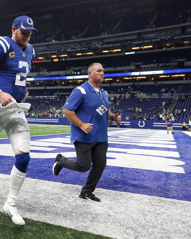 Sep 12, 2021; Indianapolis, IN, USA; Indianapolis Colts quarterback Carson Wentz (2) leaves the field after facing the Seattle Seahawks on Sunday, Sept. 12, 2021, at Lucas Oil Stadium and Indianapolis. The Seahawks defeated the Colts, 28-16. Mandatory Credit: Mandatory Credit: Jenna Watson-USA TODAY Sports