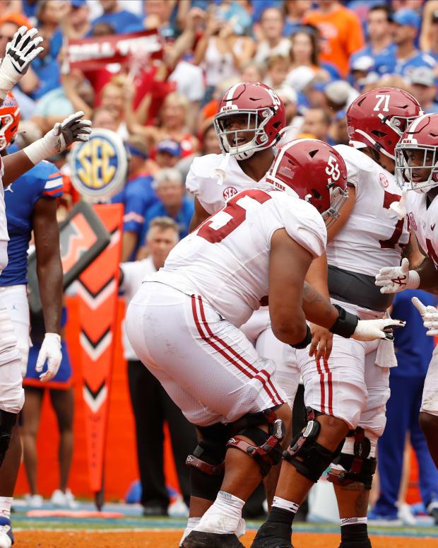 Alabama offense celebrates at Florida