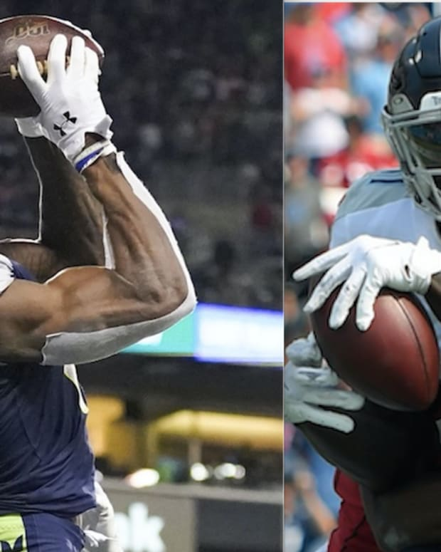 Seattle Seahawks wide receiver DK Metcalf and Tennessee Titans wide receiver A.J. Brown.