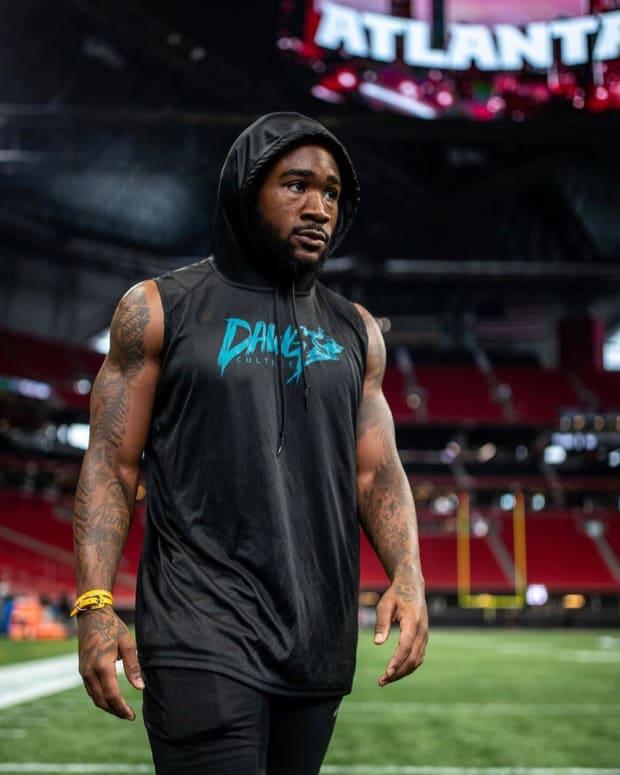 Miles Sanders during pregame warmups vs Atlanta Falcons wearing DAWG Culture hoodie