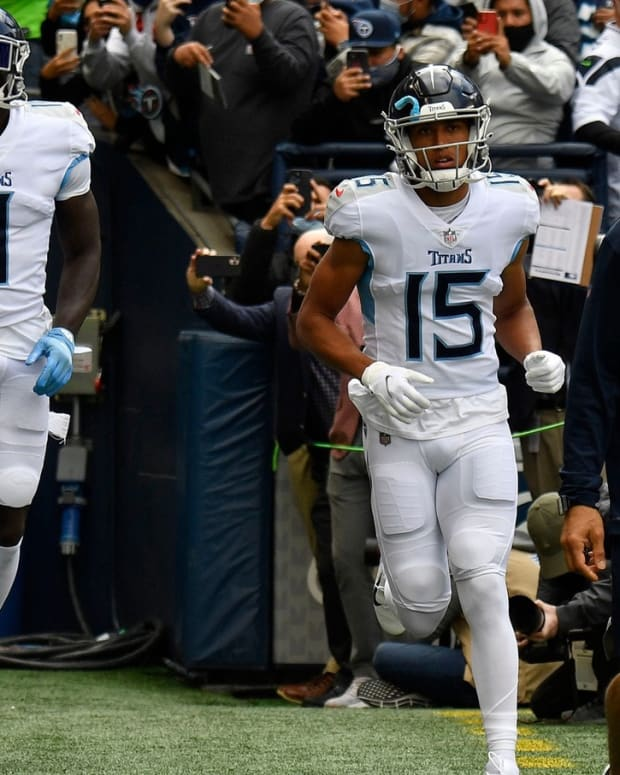 Titans wide receivers take the field to face the Seahawks at Lumen Field Sunday, Sept. 19, 2021 in Seattle, Wash.