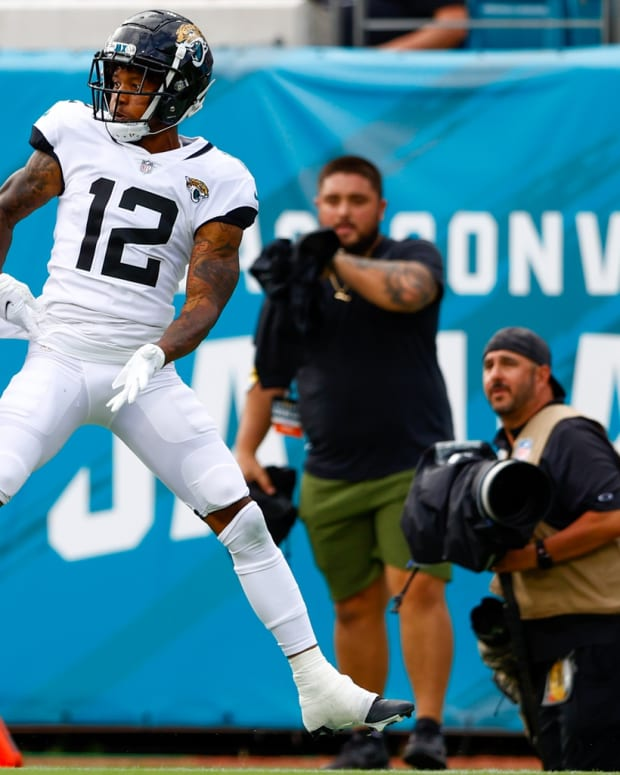 Denver Broncos cornerback Pat Surtain II (2) intercepts a pass in the fourth quarter against the Jacksonville Jaguars at TIAA Bank Field.