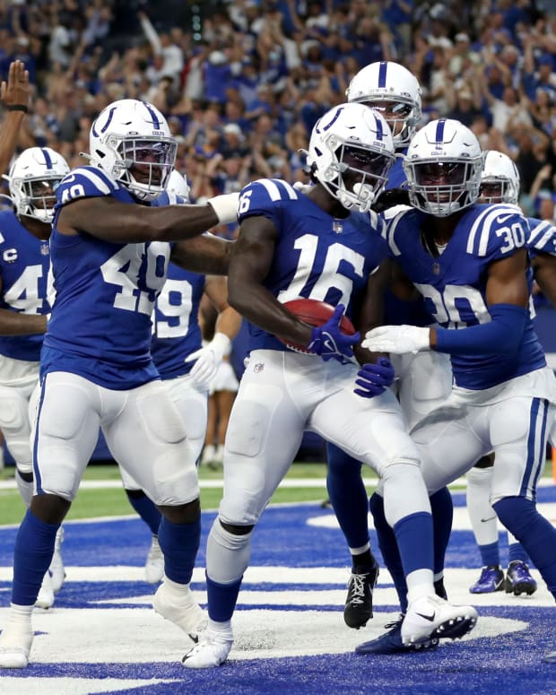 Indianapolis Colts wide receiver Ashton Dulin (16) celebrates with his teammates in the end zone after scoring a touchdown Sunday, Sept. 19, 2021, during a game against the Los Angeles Rams at Lucas Oil Stadium in Indianapolis.