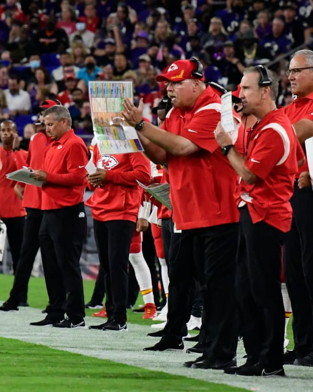 Sep 19, 2021; Baltimore, Maryland, USA; Kansas City Chiefs head coach Andy Reid looks onto the field from the sidelines during the first half against the Baltimore Ravens zat M&T Bank Stadium. Mandatory Credit: Tommy Gilligan-USA TODAY Sports