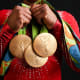 Biles shows off her gold medals from Rio 2016.