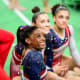 Biles with teammates at the Rio 2016 Olympics.
