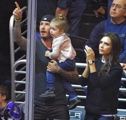 David, Harper and Victoria Beckham