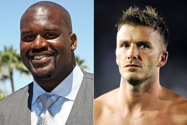 Shaquille O'Neal and David Beckham