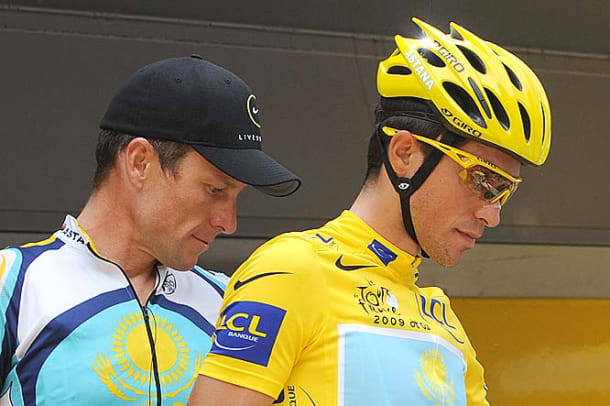 Alberto Contador and Lance Armstrong leave the signature ceremony
