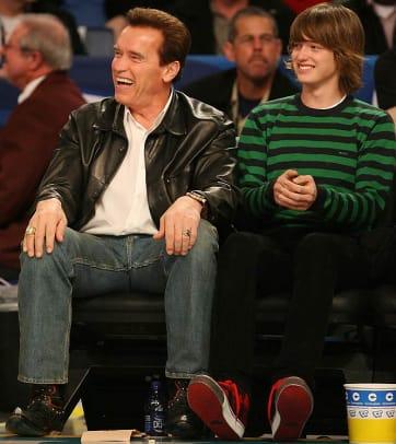 California governor Arnold Schwarzenegger with son Patrick
