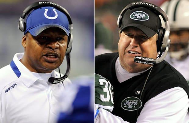 Colts coach Jim Caldwell vs. Jets coach Rex Ryan