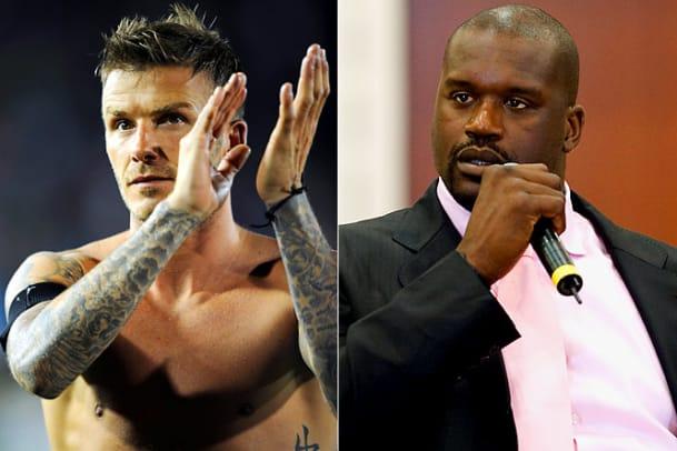 David Beckham and Shaquille O'Neal