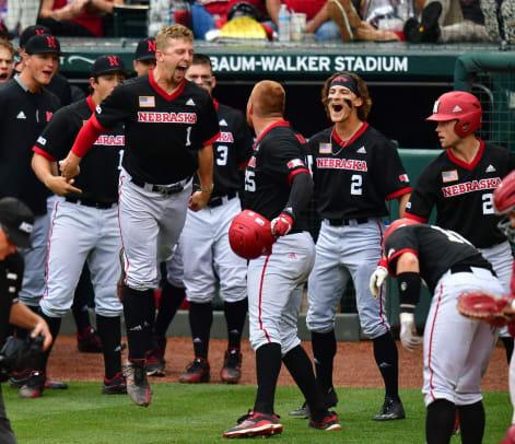 The Huskers celebrate Luke Roskam's solo home run baseball vs Arkansas 2021 G3