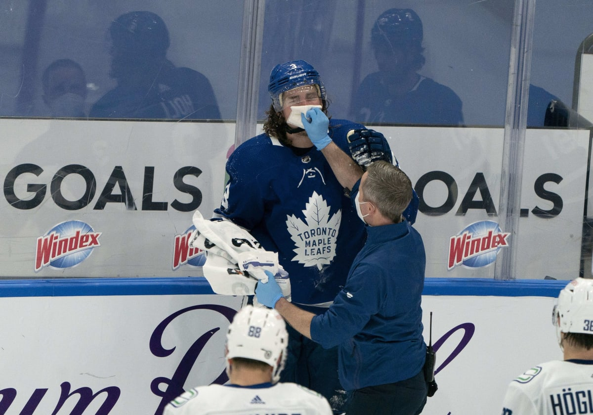 Maple Leafs' Justin Holl to Miss Game Against Canadiens After Taking Puck to the Face