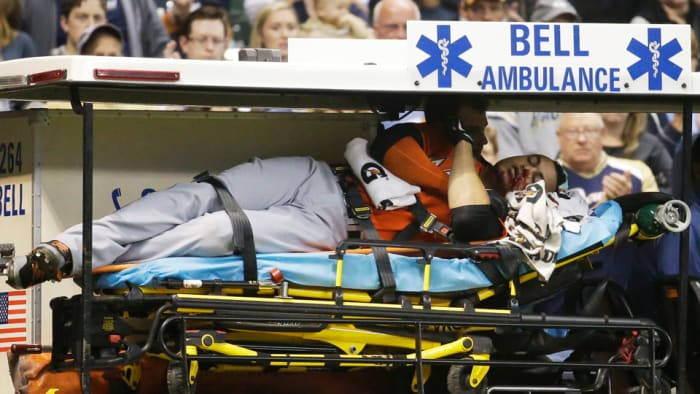 Giancarlo Stanton, then playing for the Marlins, was carried off the field on a stretcher in an ambulance after being hit with a pitch to the face during a 2014 game in Milwaukee against the Brewers.