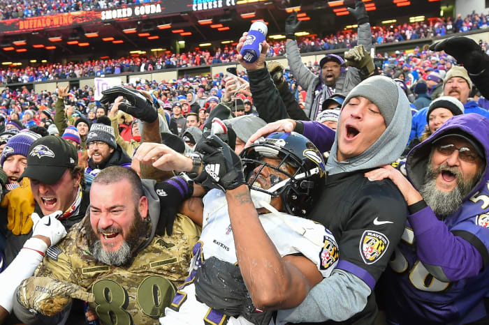 Report: Ravens' Marcus Peters Fined For Drinking Beer With Fans Following Win vs. Bills