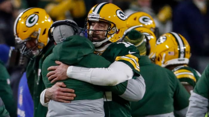 Aaron Rodgers, Matt LaFleur in playoff win over Seattle