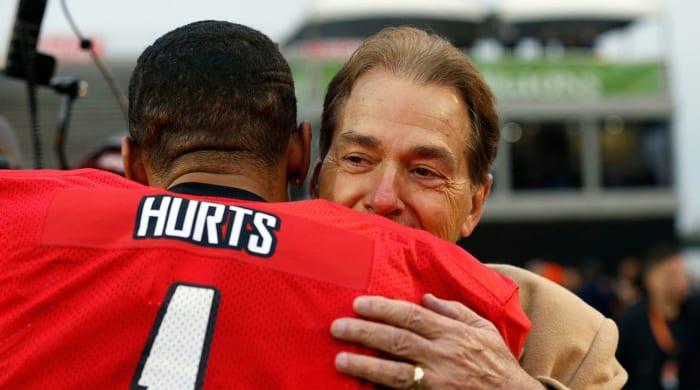 Nick Saban and Jalen Hurts Hug It Out at Senior Bowl Practice