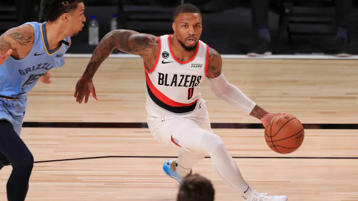 Damian Lillard of the Portland Trail Blazers dribbles during the first half against the Memphis Grizzlies